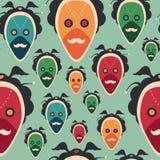 Modelo inconsútil colorido con las máscaras extravagantes Fotografía de archivo libre de regalías