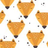 Modelo inconsútil colorido con los bozales de los zorros lindos, estrellas stock de ilustración