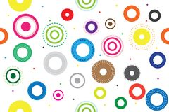 Modelo inconsútil colorido con los círculos , Sistema del diseño redondo del símbolo del icono stock de ilustración