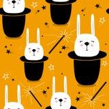 Modelo inconsútil colorido con los conejos en los sombreros, varas mágicas, estrellas libre illustration