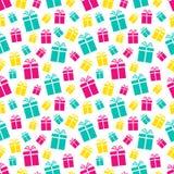 Modelo inconsútil colorido de las cajas de regalo Fondo de los días de fiesta Actuales iconos planos coloreados Repita la textura libre illustration