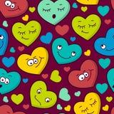Modelo inconsútil colorido de las emociones del corazón de la historieta Tarjeta del día de San Valentín libre illustration