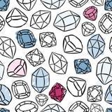 modelo inconsútil colorido de las piedras preciosas en blanco Foto de archivo libre de regalías