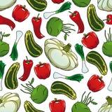 Modelo inconsútil colorido de verduras frescas Fotos de archivo libres de regalías