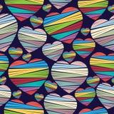 Modelo inconsútil colorido del corazón Día de tarjeta del día de San Valentín Imagen de archivo libre de regalías