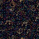 Modelo inconsútil colorido del fuego artificial de la nota de la música ilustración del vector
