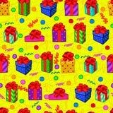 Modelo inconsútil colorido del regalo Foto de archivo libre de regalías