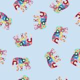 Modelo inconsútil colorido del vector con el elefante Imagen de archivo libre de regalías
