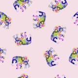 Modelo inconsútil colorido del vector con el elefante Fotos de archivo
