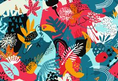 Modelo inconsútil colorido del vector con las plantas tropicales, flores pájaros, textura pintada a mano stock de ilustración