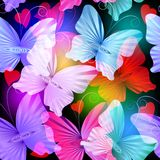Modelo inconsútil colorido del vector radial de las mariposas que brilla intensamente stock de ilustración