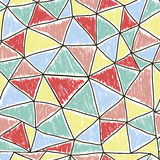 Modelo inconsútil colorido geométrico con los triángulos abstraiga el fondo Fotos de archivo