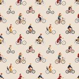 Modelo inconsútil con bicis que montan o los ciclistas de la vieja y joven gente Contexto con los hombres y las mujeres en las bi stock de ilustración