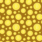Modelo inconsútil con Bitcoins de oro en el fondo de Brown libre illustration