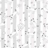 Modelo inconsútil con bosquejo blanco y negro del vector de un perro Ilustración del vector Fotos de archivo libres de regalías