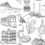 Modelo inconsútil con bosquejos portugueses libre illustration