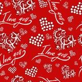 Modelo inconsútil con día de tarjetas del día de San Valentín de los corazones te quiero Foto de archivo