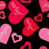 Modelo inconsútil con día de tarjetas del día de San Valentín de los corazones te quiero Fotos de archivo libres de regalías