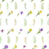 Modelo inconsútil con diversas flores de la primavera Azafranes, narcisos e hierbas Elementos aislados en un fondo blanco fotografía de archivo