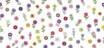 Modelo inconsútil con diversas flores de la primavera Elementos aislados en un fondo blanco foto de archivo