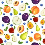Modelo inconsútil con diversas frutas en el fondo blanco ilustración del vector