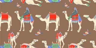 Modelo inconsútil con diverso camello egipcio stock de ilustración