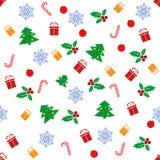 Modelo inconsútil con con diversos símbolos del invierno La Navidad stock de ilustración