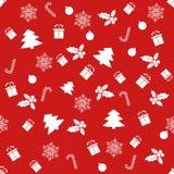Modelo inconsútil con con diversos símbolos del invierno La Navidad ilustración del vector