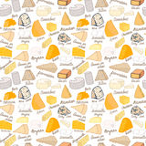 Modelo inconsútil con diversos tipos de queso en el fondo blanco Imagen de archivo libre de regalías