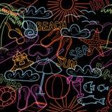 Modelo inconsútil con doodles de la playa ilustración del vector