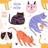 Modelo inconsútil con dormir, jugando, cazando gatos o gatitos y sus bozales Contexto con los animales de animal doméstico adorab libre illustration