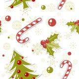 Modelo inconsútil con el árbol de navidad lindo de la historieta Foto de archivo libre de regalías
