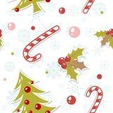 Modelo inconsútil con el árbol de navidad lindo de la historieta Imagen de archivo libre de regalías