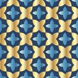 Modelo inconsútil con el arreglo pedido de formas geométricas abstractas El ejemplo se hace en sombras del oro en fondo azul ilustración del vector