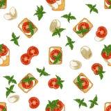 Modelo inconsútil con el bocadillo: mozzarella, tomate y albahaca Imagen de archivo libre de regalías