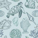 Modelo inconsútil con el bosquejo de las cáscaras, de los pescados, de los corales y de la tortuga del mar Ilustración drenada ma Imagen de archivo libre de regalías