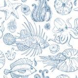 Modelo inconsútil con el bosquejo de los organismos vivos profundos stock de ilustración