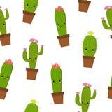Modelo inconsútil con el cactus y los succulents lindos del kawaii con las caras divertidas en potes Fondo blanco Ilustración del ilustración del vector