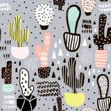 Modelo inconsútil con el cactus y texturas dibujadas mano Perfeccione para la tela, materia textil Fondo del vector Imagen de archivo libre de regalías