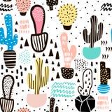 Modelo inconsútil con el cactus y texturas dibujadas mano Perfeccione para la tela, materia textil Fondo del vector Fotos de archivo