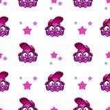 Modelo inconsútil con el carácter púrpura cómico lindo ilustración del vector