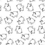 Modelo inconsútil 2019 con el cerdo, vector Estilo del garabato stock de ilustración