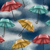 Modelo inconsútil con el cielo nublado y lluvioso Paraguas multicolores Azul, rojo y amarillo Tiempo clima ilustración del vector