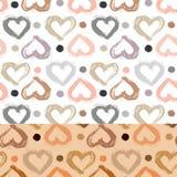 Modelo inconsútil con el corazón dibujado mano Los corazones pintados secan el cepillo Ejemplo de la tinta Foto de archivo libre de regalías
