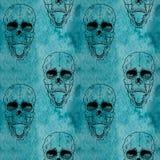 Modelo inconsútil con el cráneo en fondo del grunge Imágenes de archivo libres de regalías