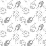 Modelo inconsútil con el dibujo monocromático linear de la alcachofa - verduras frescas stock de ilustración