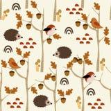 Modelo inconsútil con el erizo y la bellota en el bosque - ejemplo del vector, EPS libre illustration