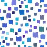 Modelo inconsútil con el extracto azul del color de los pequeños cuadrados pintados a mano Vector, geométrico Imágenes de archivo libres de regalías