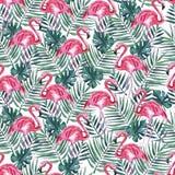 Modelo inconsútil con el flamenco rosado y hojas de palma en un fondo blanco Ilustraci?n de la acuarela stock de ilustración