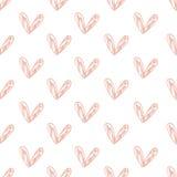 Modelo inconsútil con el fondo handdrawn de los corazones hecho con el cepillo Corazones dibujados mano romántica expresiva Foto de archivo